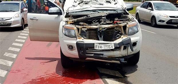 Veículo que atropelou ciclista no sábado, no Jardi