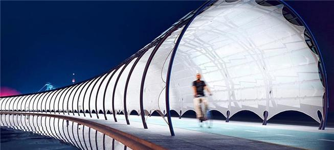 Via fotovoltaica multifuncional para ciclistas e p
